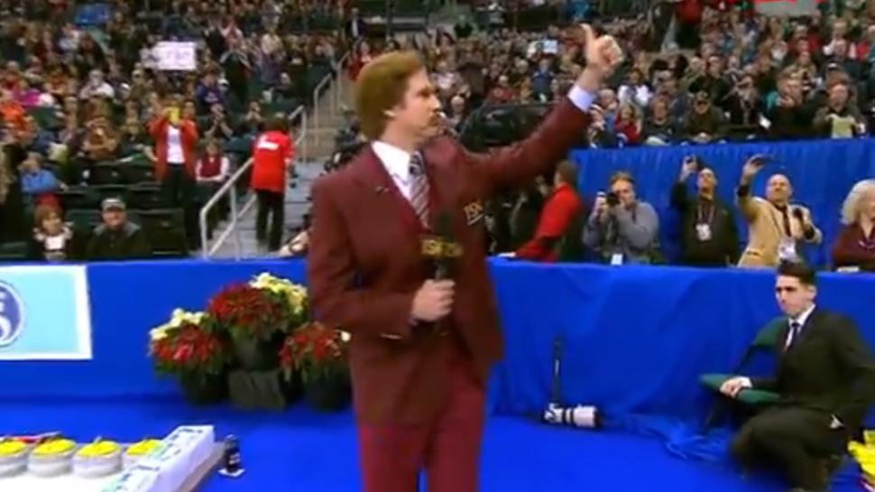 Ron Burgundy's Weekend: Curling, Local News, And An Address to the People Of Ireland