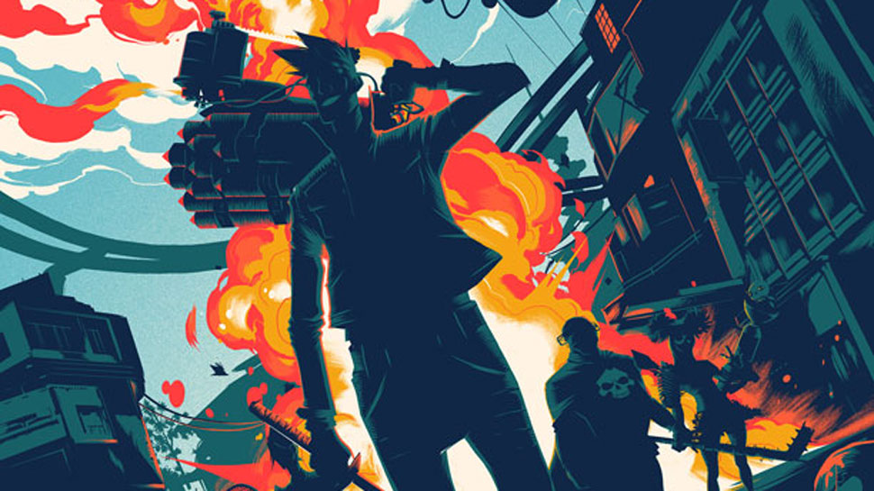 See Mondo's Explosive SUNSET OVERDRIVE Print