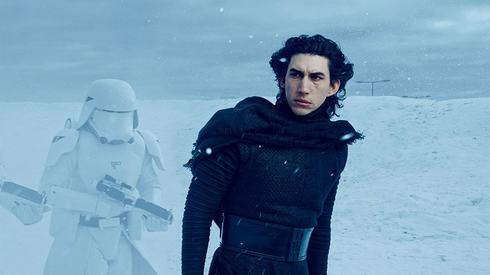 Actor Adam Driver during his scene in the movie Star Wars