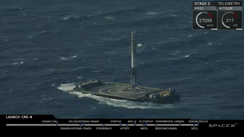 SpaceX Finally Lands a Rocket Stage on a Robot Barge