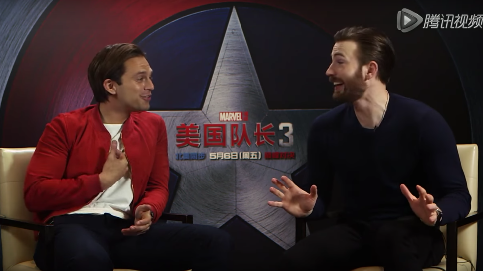 "Sebastian Stan is a ""Chubby Dumpling"" in China and Chris Evans LOVES IT"