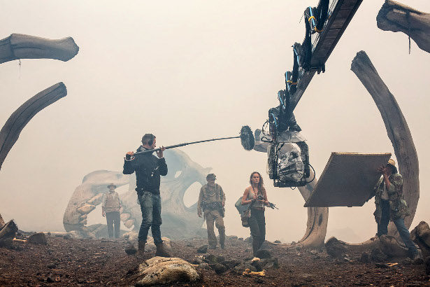 """(L-r) JOHN GOODMAN, JOHN C. REILLY and BRIE LARSON on the set of Warner Bros. Pictures' and Legendary Pictures' action adventure """"KONG: SKULL ISLAND,"""" a Warner Bros. Pictures release. Photo by Chuck Zlotnick"""