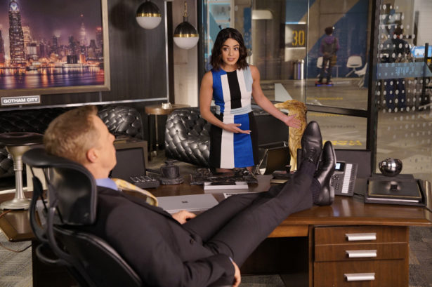 "POWERLESS -- ""Sinking Day"" Episode 106 -- Pictured: Alan Tudyk as Van, Vanessa Hudgens as Emily -- (Photo by: Chris Haston/NBC)"