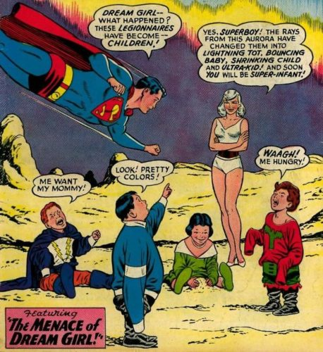 Superboy asks Dream Girl why the Legion of Superheroes have been turned to children