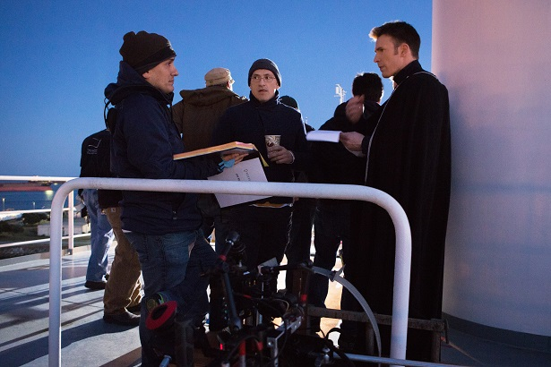 Directors Joe and Anthony Russo and star Chris Evans.
