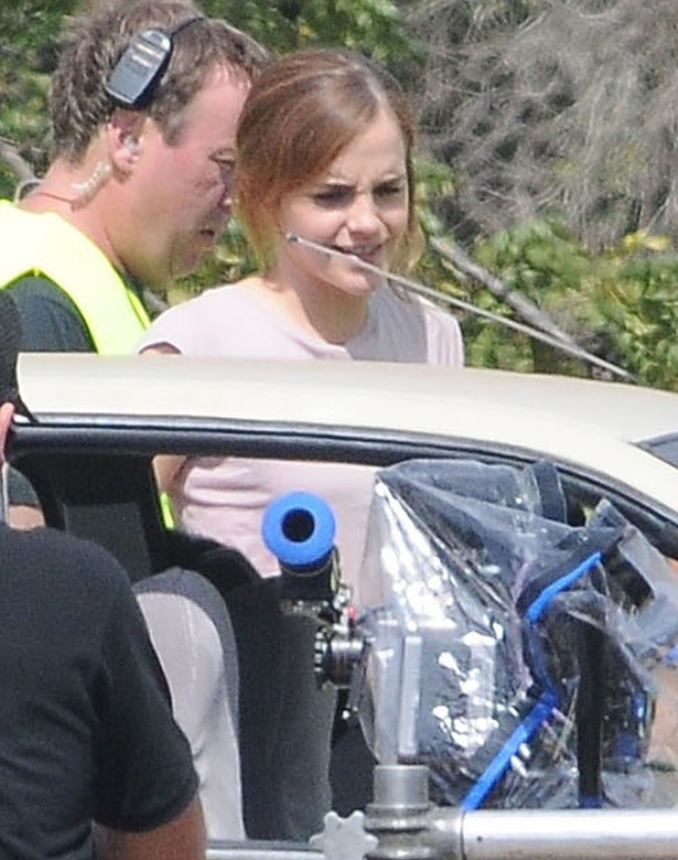 Exclusive... 51857058 Actress Emma Watson filming scenes on the set of 'The Circle' in Fillmore, California on September 21, 2015. The movie is about a woman who lands a job at a powerful tech company called the Circle, where she becomes involved with a mysterious man. FameFlynet, Inc - Beverly Hills, CA, USA - +1 (818) 307-4813