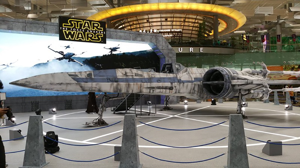 Full-Size Rebel X-Wing Lands at Singapore Airport