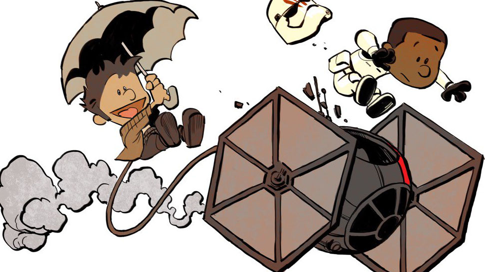THE FORCE AWAKENS Meets CALVIN AND HOBBES in This Delightful Art