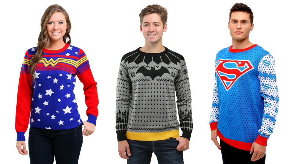 batman wonder woman and superman take form in dc comics christmas sweaters