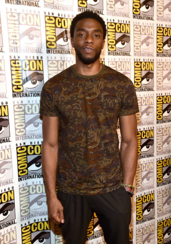 SAN DIEGO, CA - JULY 22: Actor Chadwick Boseman from Marvel Studios' 'Black Panther' at the San Diego Comic-Con International 2017 Marvel Studios Panel in Hall H on July 22, 2017 in San Diego, California. (Photo by Alberto E. Rodriguez/Getty Images for Disney) *** Local Caption *** Chadwick Boseman