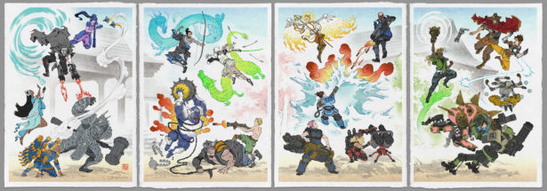 OVERWATCH, LEGEND OF ZELDA, and More Video Game Fights as Woodblock Prints_6