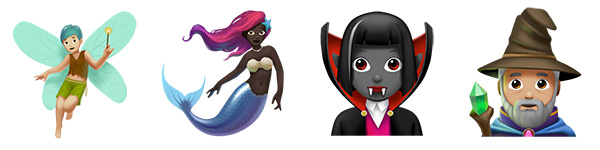 Emoji of a Fairy, Mermaid, Vampire, and Wizard