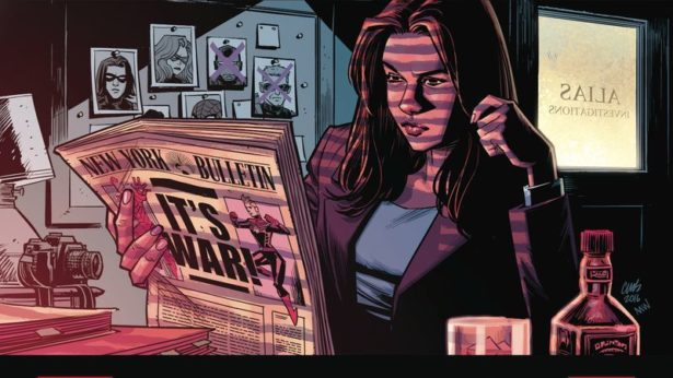 Jessica Jones sits in her dark office reading a newspaper with a headline about Civil War II