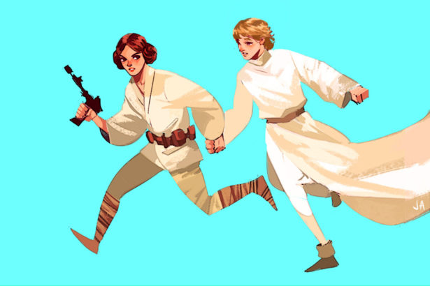 Luke and Leia Swap Roles in Creative STAR WARS Fan Art_2
