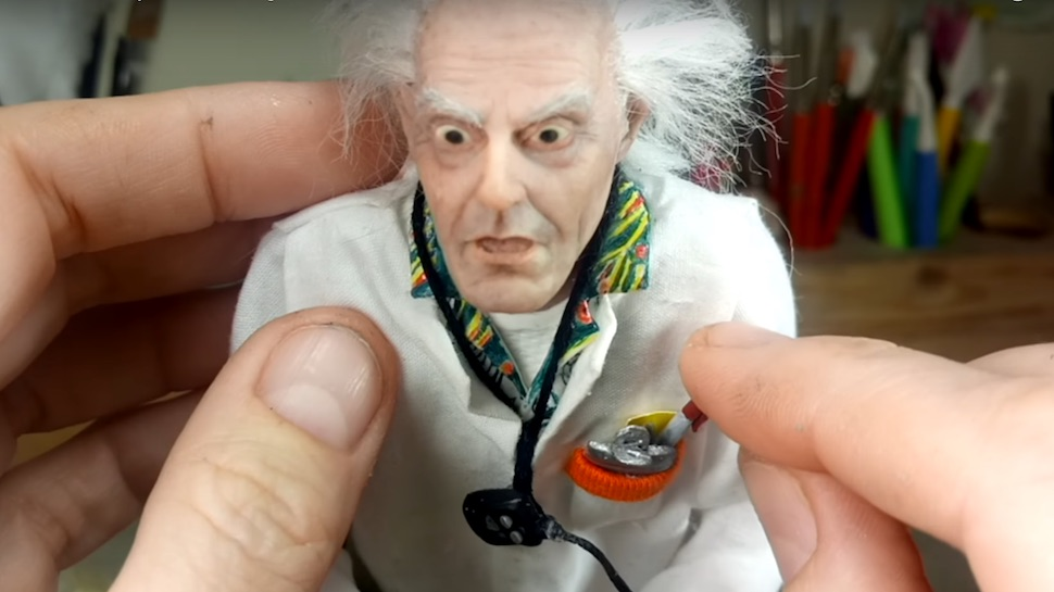 Artist Brings BACK TO THE FUTURE's Doc Brown to Life With Mini-Sculpture