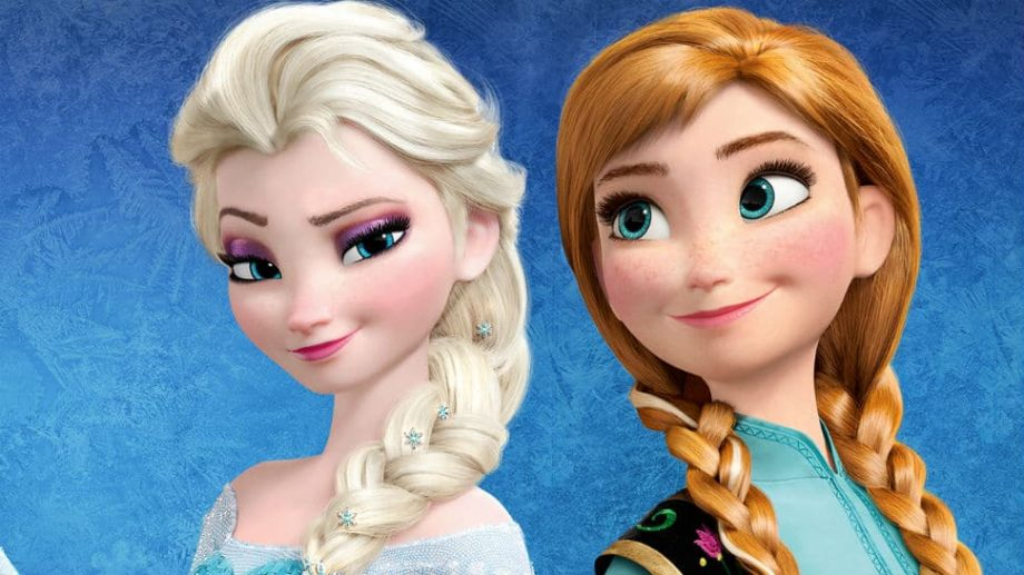 Elsa and Anna stand next to each other on a blue background