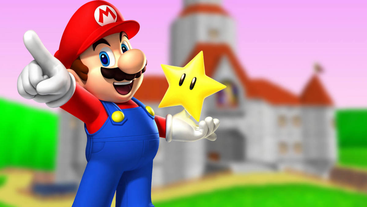Super Mario holding a star in front of a castle