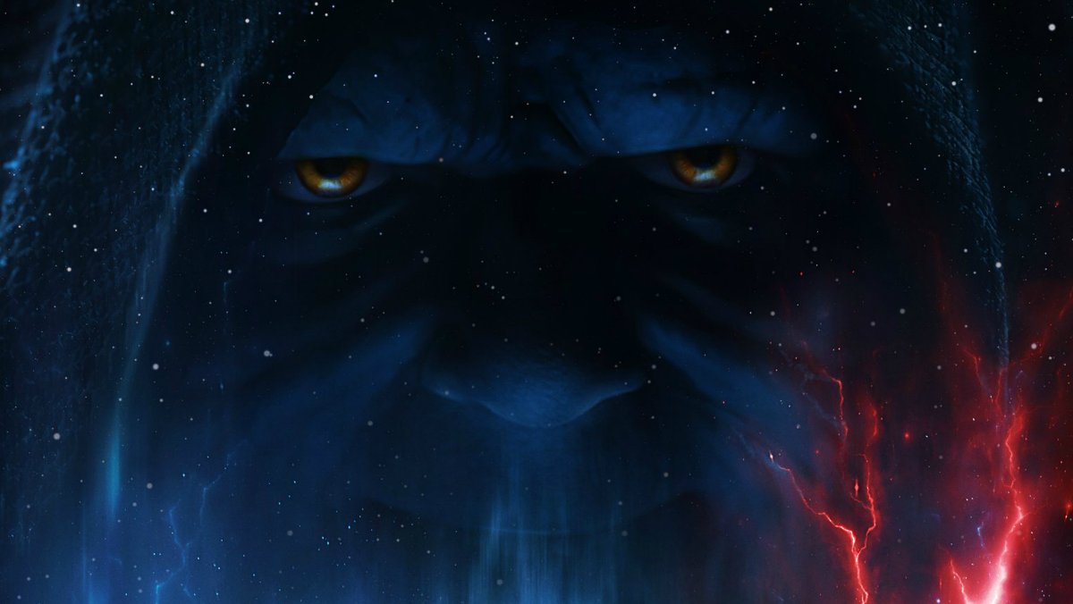 Palpatine's face in The Rise of Skywalker poster