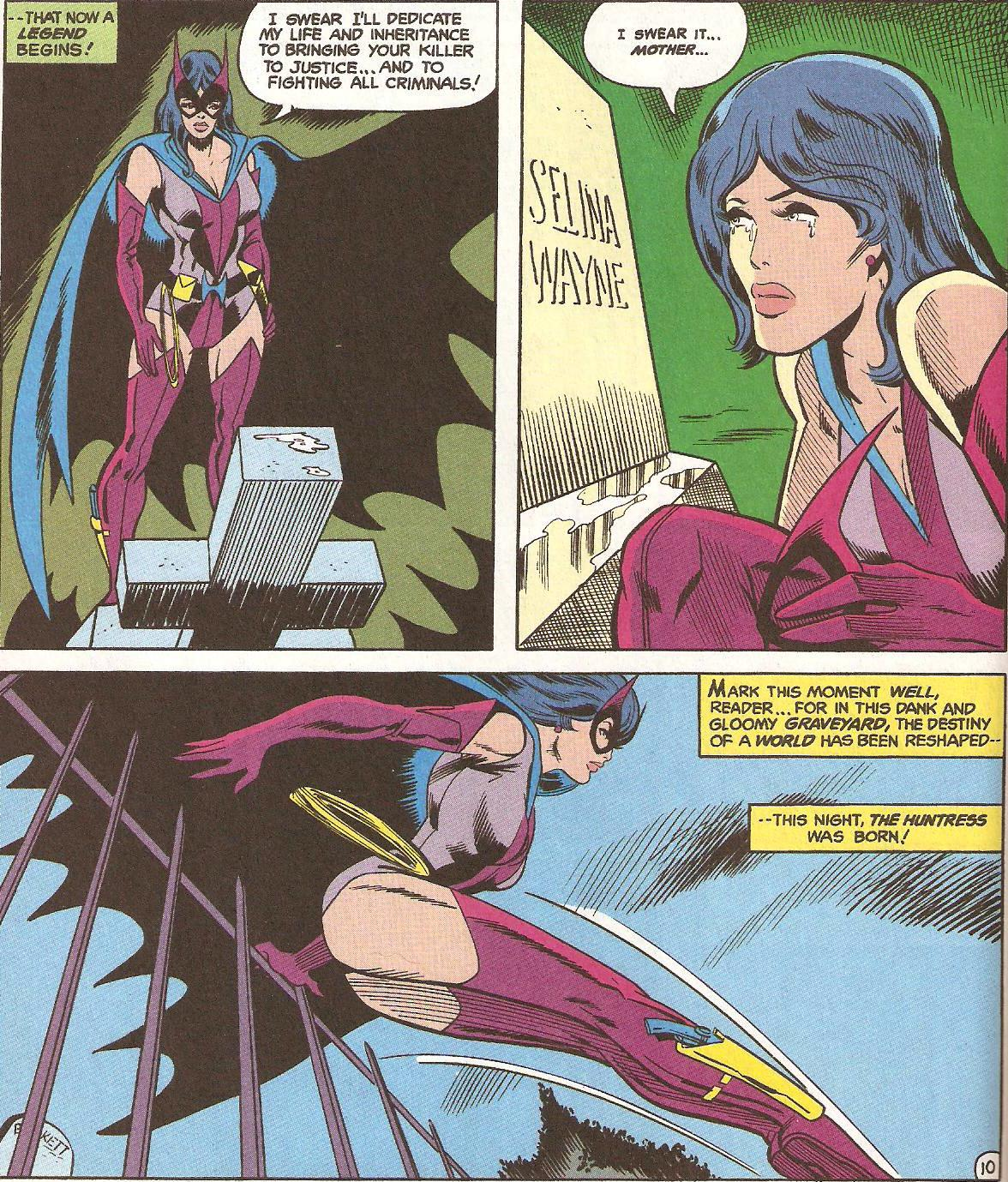 The original appearance of the Huntress, from DC Super Stars #17 (1977)