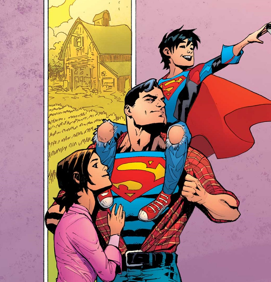 The Super family on their farm, from the pages of DC Comics.