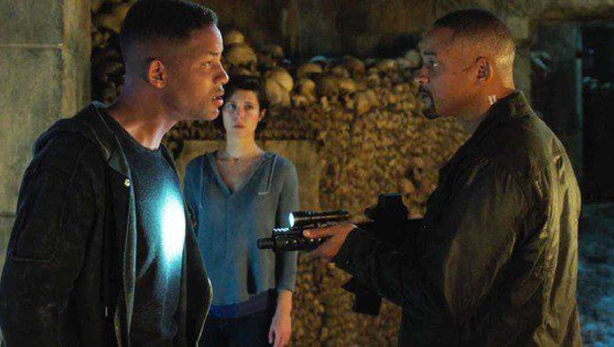 Two Will Smiths and Mary Elizabeth Winstead in Gemini Man