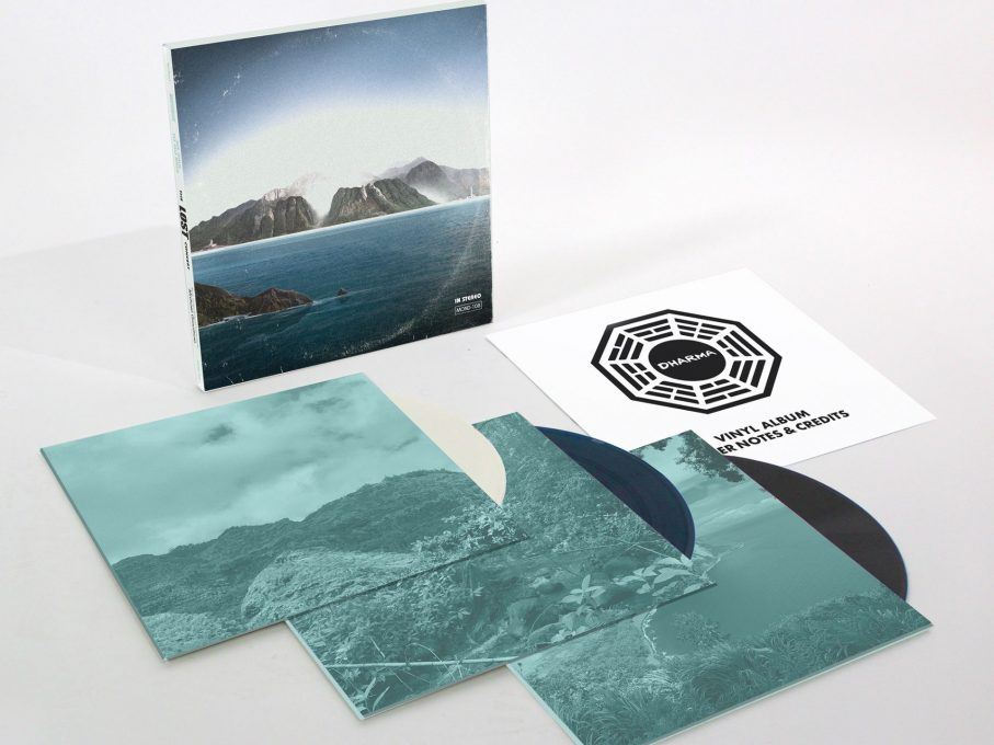 Mondo's new LOST LP features packaging evoking the bland corporate logos of Dharma Group, the company controlling the island on the show.