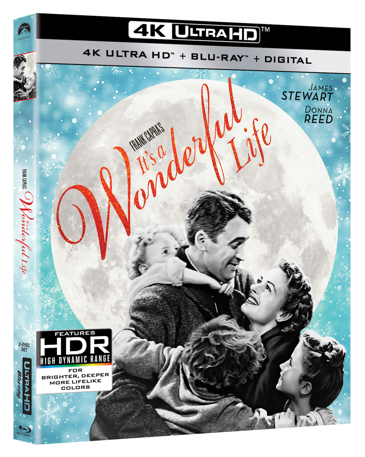 George Bailey hugs his family on the cover of the Its a Wonderful Life 4K Blu-ray