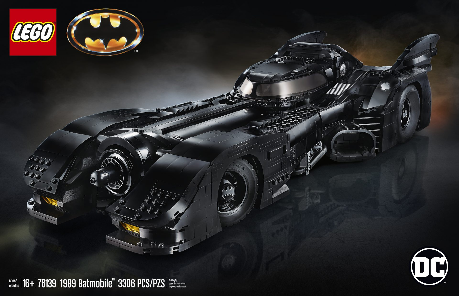 The box art for the new LEGO version of the Tim Burton Batmobile from the 1989 film.