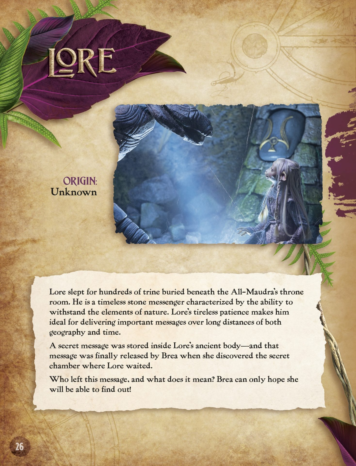 Heroes of the Resistance: A Guide to the Characters of The Dark Crystal: Age of Resistance that explores the backstory of the character Lore