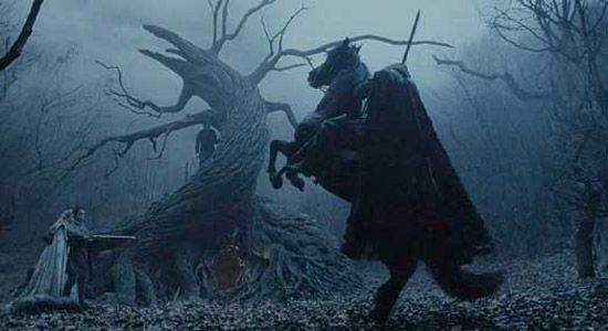 The Headless Horseman rides the countryside looking for his next victim in a scene from Sleepy Hollow