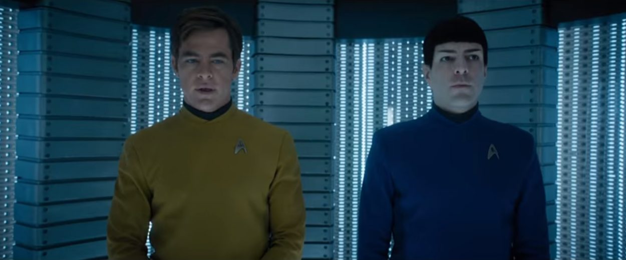 Kirk and Spock in the turbolift of the Enterprise in Star Trek Beyond, the last Trek feature film.