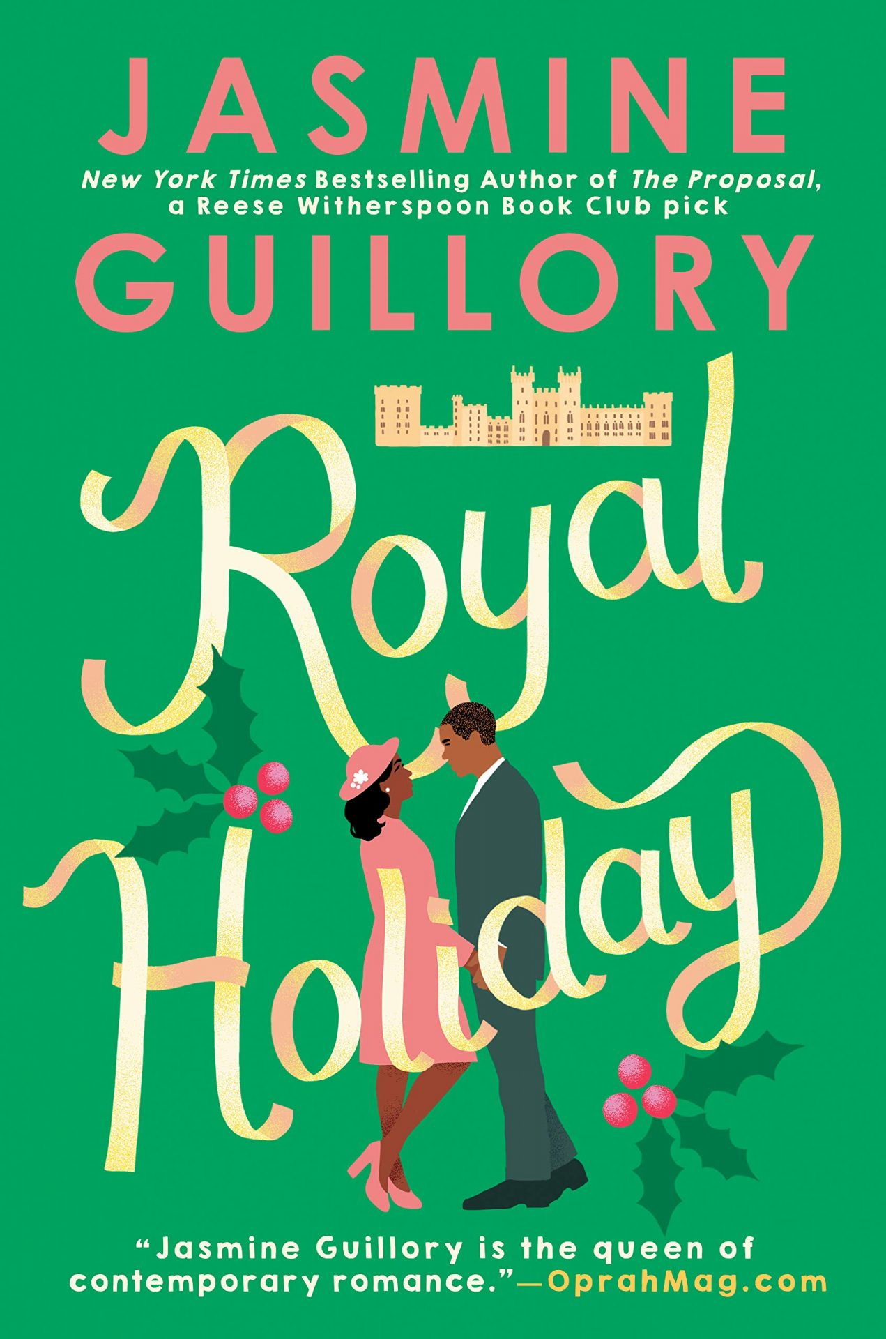 The cover for the royal holiday shows an illustration of a couple about to kiss under the title of the book