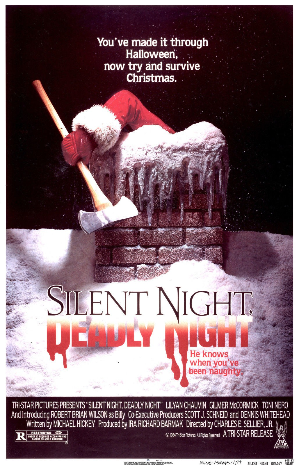The poster for Silent Night Deadly Night which shows Santa holding an axe climbing out of a chimny the text says he knows when you've been naughty