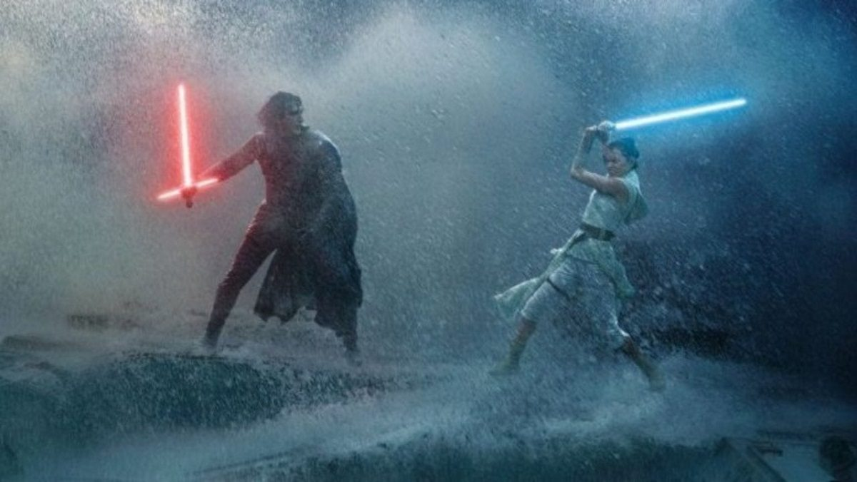 Rey and Kylo Ren do battle in the wreckage of the old Death Star in an epic duel in The Rise of Skywlker.
