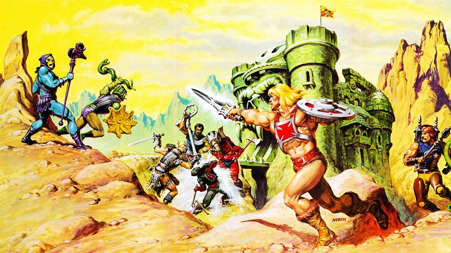 He-Man defends Castle Grayskull from the forces of evil, in the promo art from the 1980s toyline.
