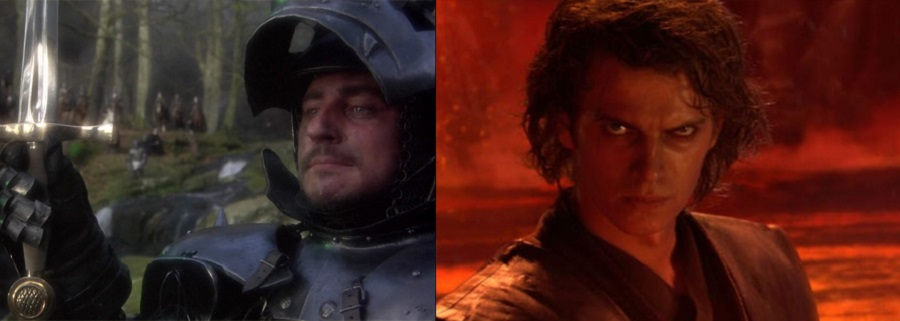 Uther Pendragon, as played by Gabriel Byrne, from the film Excalibur, and Hayden Christiansen as Anakin Skywalker in Revenge of the Sith