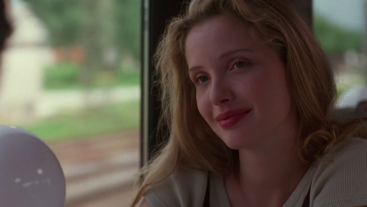 Julie Delpy on a train to Vienna in Before Sunrise.