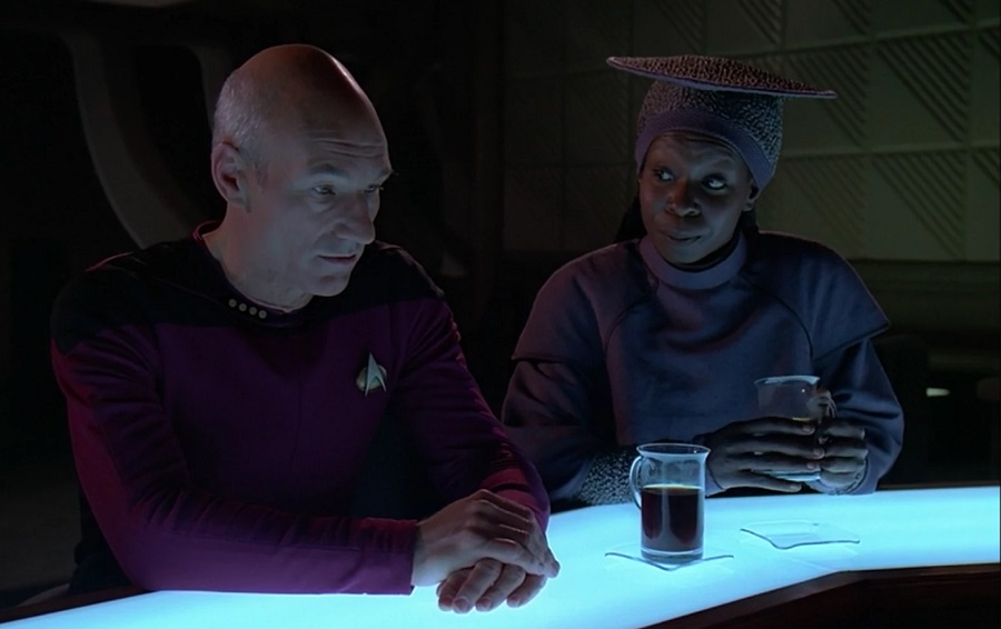 In the episode The Measure of a Man, Guinan counsels Picard on defending Data's right to exist.