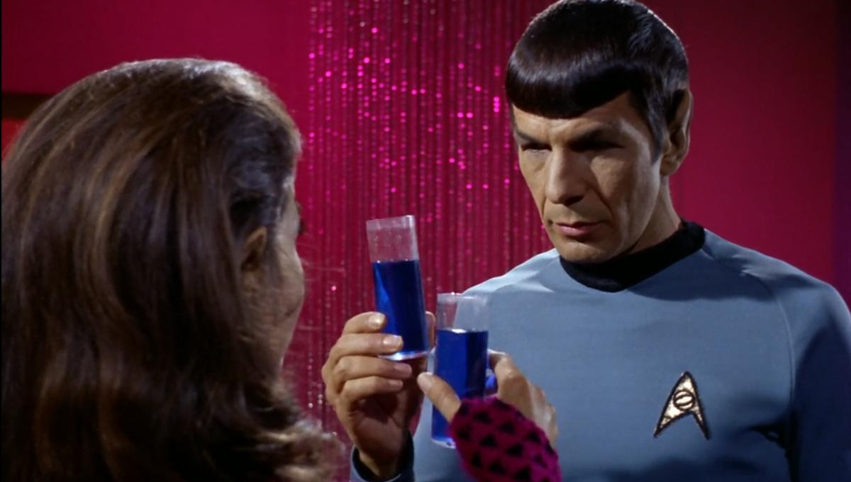 Spock and the enemy Commander share some Romulan ale on board her ship in the original series.