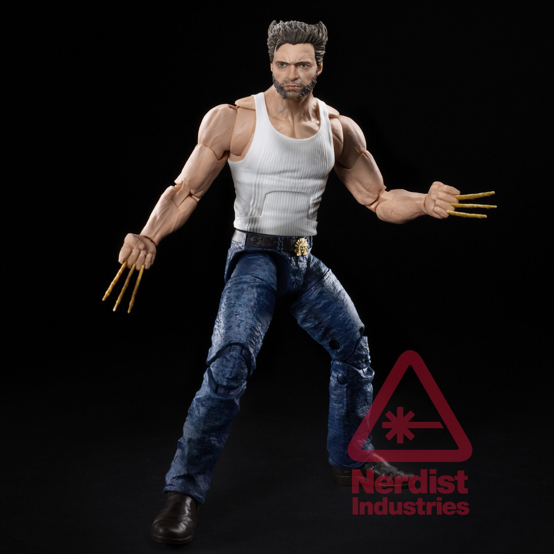 Hugh Jackman's Wolverine with white tanktop and bone claws joins the new X-Men movies Marvel Legends line