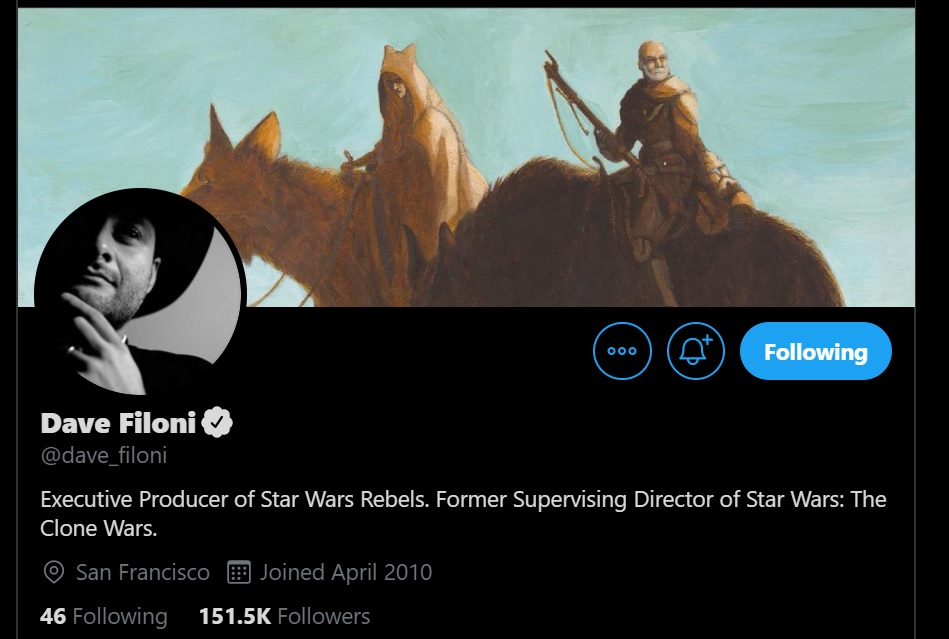 A curious photo adorns Dave Filoni's Twitter profile.