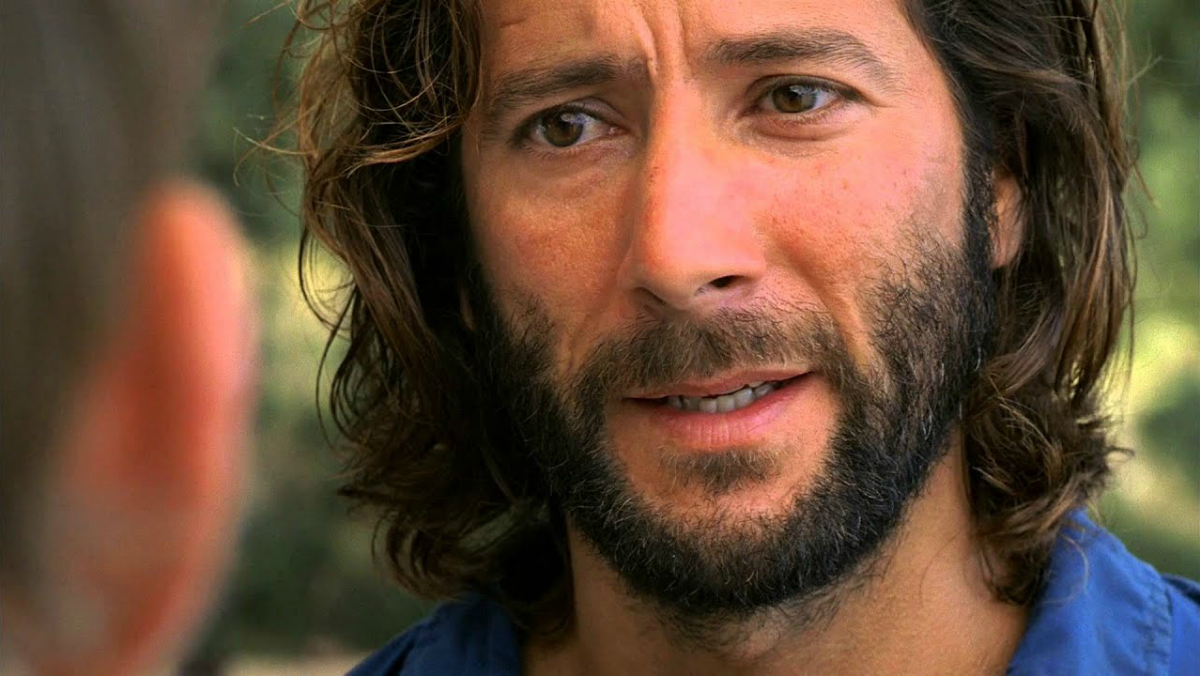 Desmond Hume looks concerned in an episode of Lost.