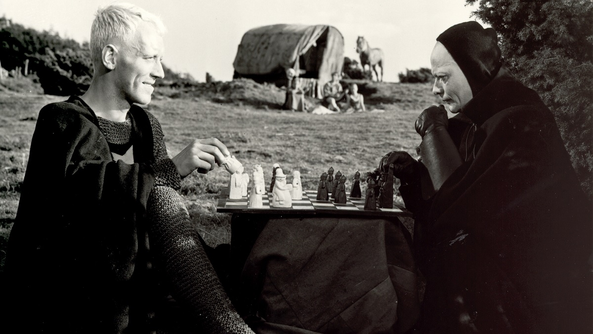 Max Von Sydow plays chess with Death himself in Ingmar Bergman's The Seventh Seal.