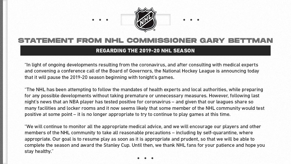 NHL coronavirus statement
