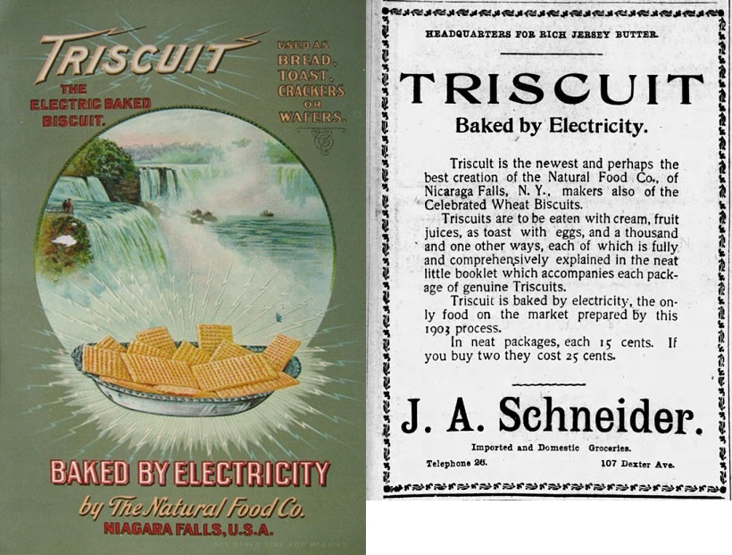 A very old Triscuit advertisement proclaims Baked by Electricity.