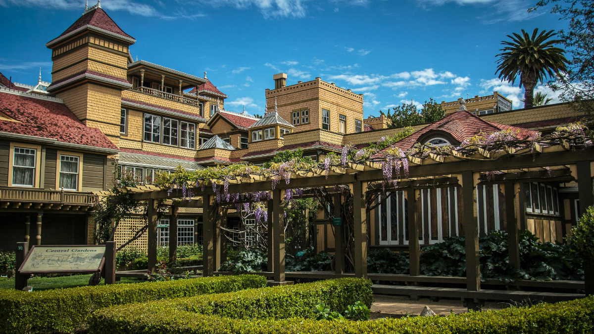 A view of the courtyard of the Winchester Mystery House.