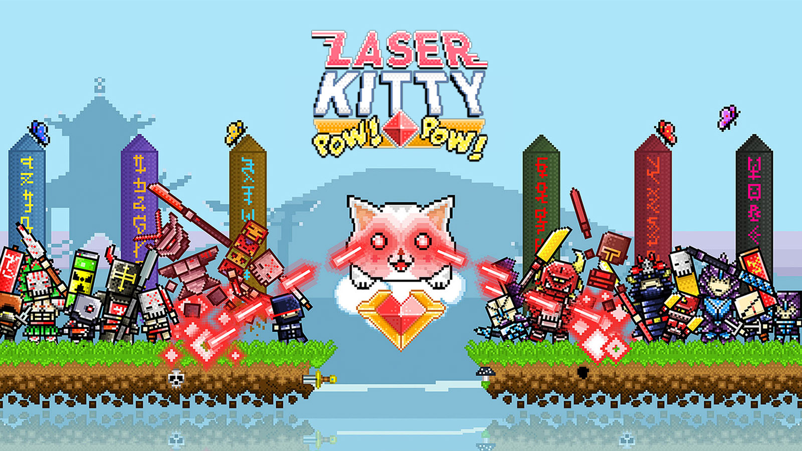 Laser Kitty Pow Pow features adorable cats that shoot laser beams from their eyes.