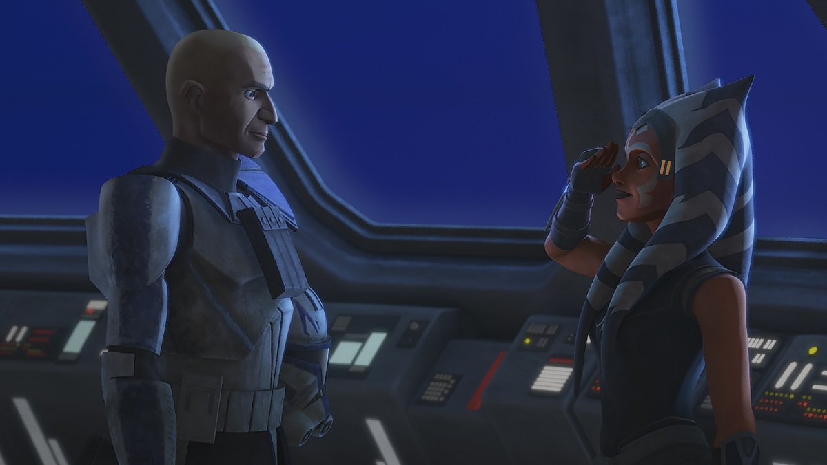 Commander Rex and Ahsoka share a salute following the Siege of Mandalore.