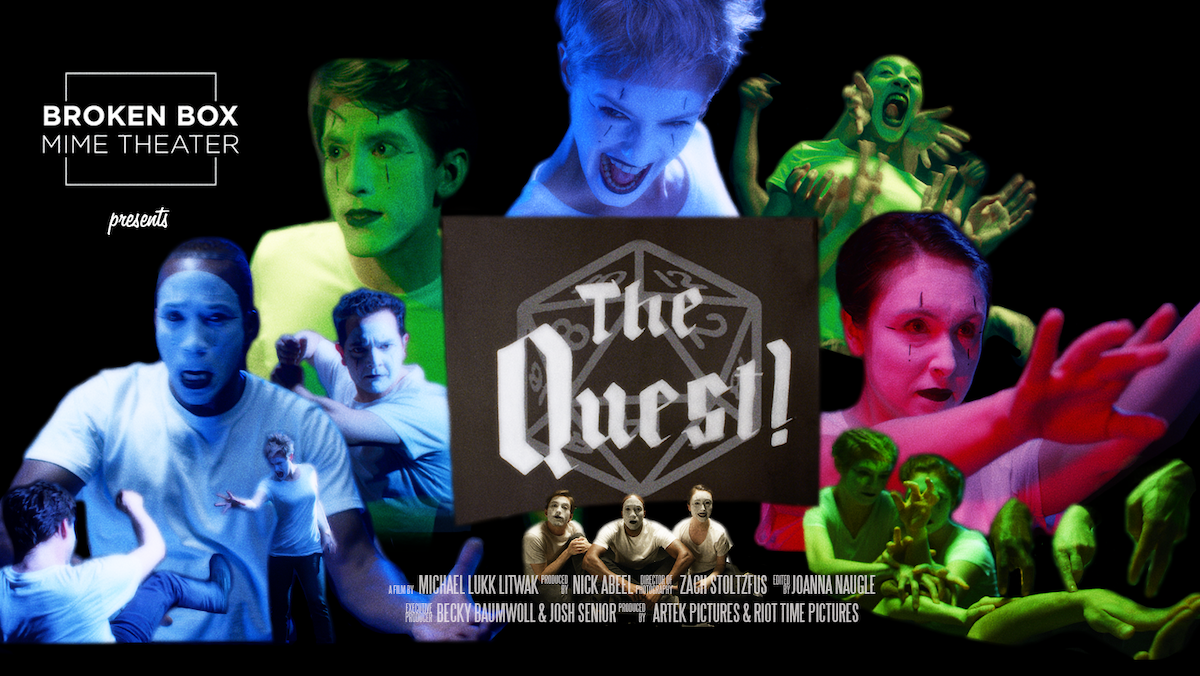 A collage of mime performers surround a banner for The Quest!