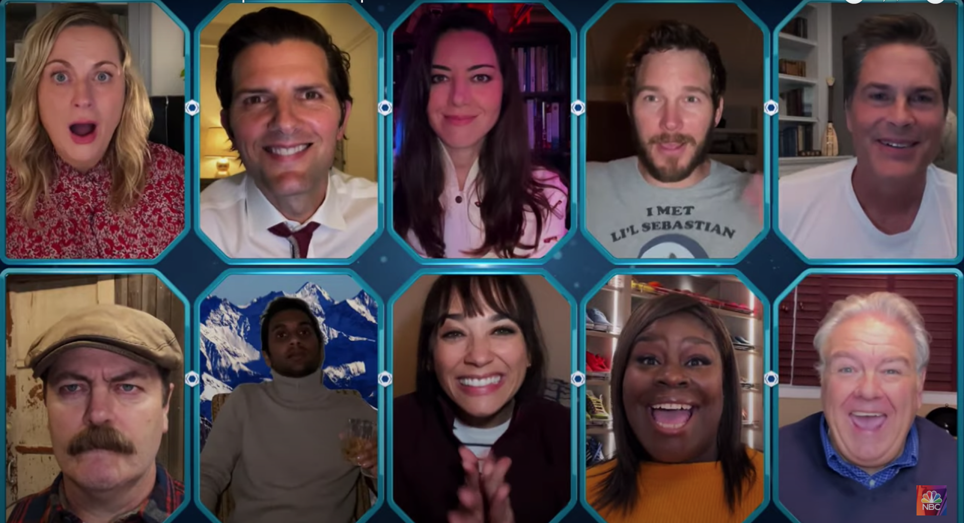 A video call between Parks and Rec characters Leslie, Ben, April, Andy, Chris, Ron, Tom, Ann, Donna, and Jerry/Garry.